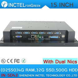 15 дюймов светодиодный сенсорный Настольный компьютер с Intel D2550 1.86 ГГц 2*1000 м LAN HDMI 4 г Оперативная память 32 г SSD 500 г HDD