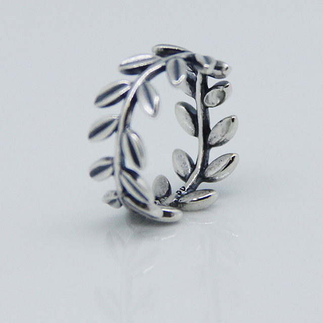 Leaves Rings 100% 925 Sterling Silver Fine Jewelry Free Shipping