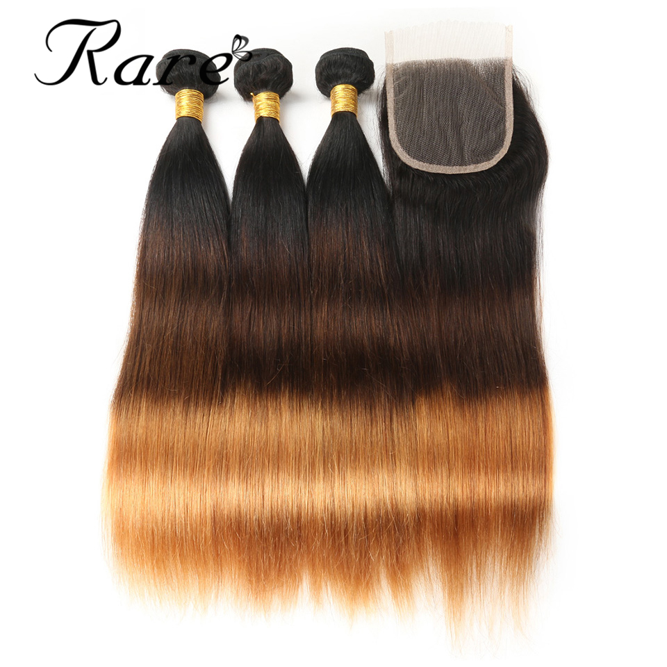 Raw Indian Ombre Human Straight Hair #1B/4/30 Rare Hair Non Remy Hair 3 Bundles With 4*4 Lace Closure Free/Midlle/Three Part