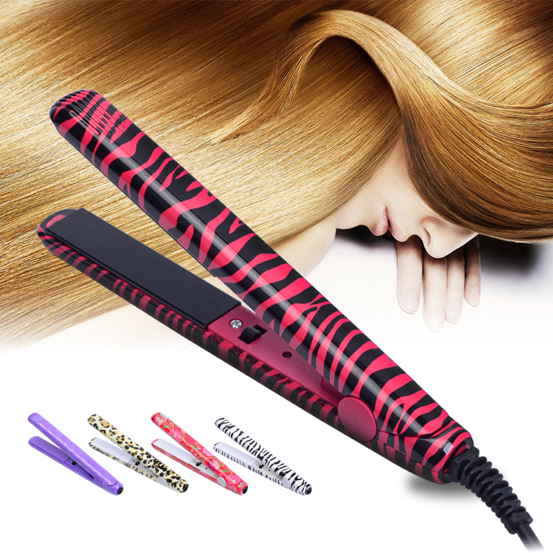 Mini Hair Styling Portable Ceramic Flat Zebra Hair Straightener Iron 7