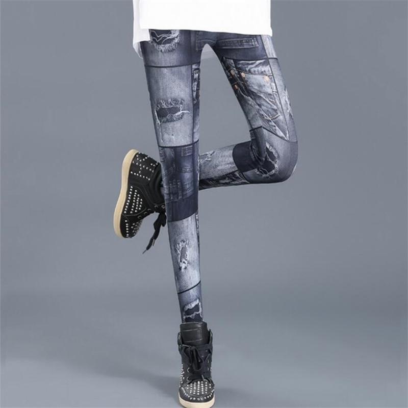 CUHAKCI Fitness Print Legging FemaleNew Hole Trousers High Waist Pants Gradient Blue Casual Leggins Womens Faux Denim Leggings