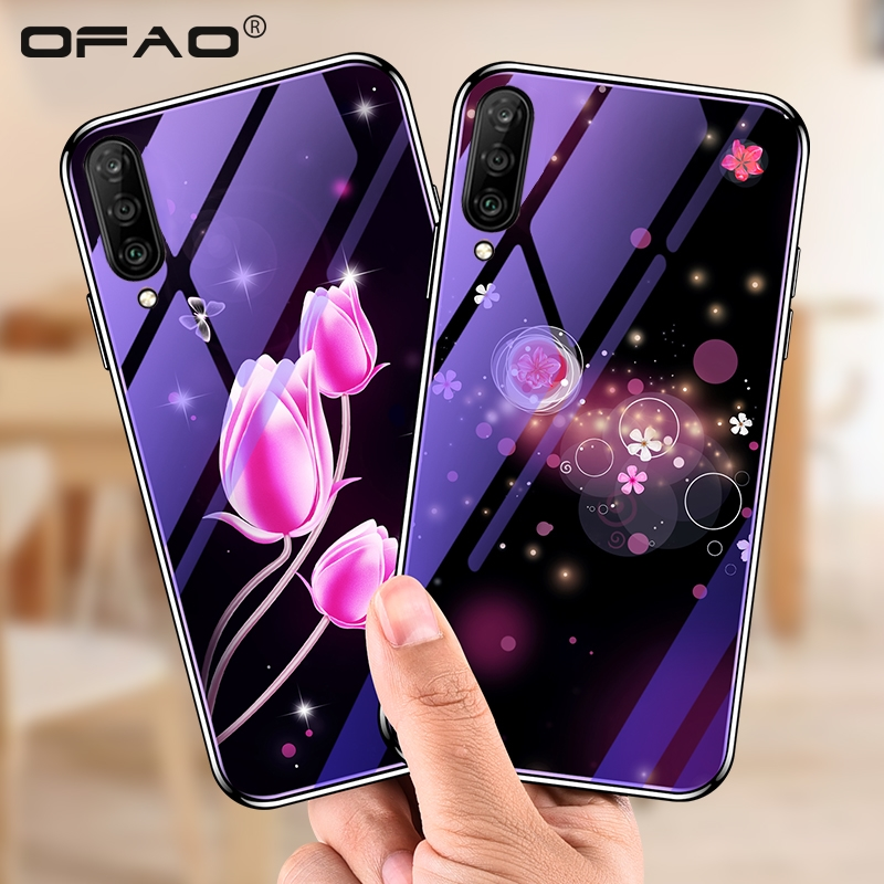 For <font><b>Samsung</b></font> Galaxy A50 A80 A70 <font><b>Case</b></font> <font><b>Glass</b></font> Plating Blue Tulip Luxury Cover <font><b>cases</b></font> For <font><b>Samsung</b></font> <font><b>A</b></font> 90 80 <font><b>70</b></font> A30 A50 A10 Fundas Coque image
