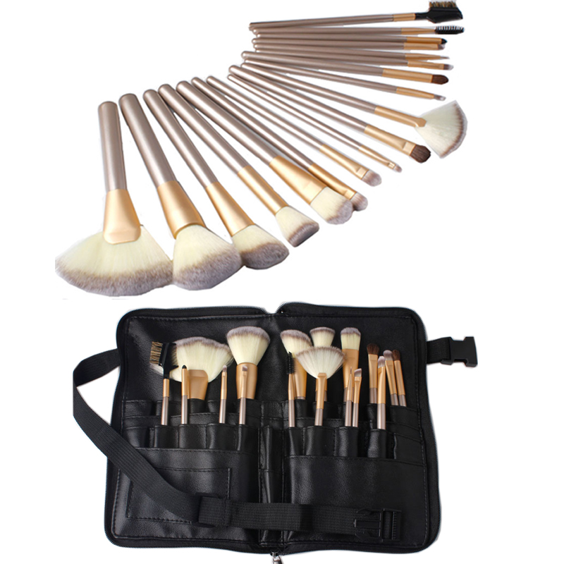 New 18pcs Makeup Brush Set Soft Hair Cosmetic Foundation Powder Make Up Brushes with Waist Cosmetic Bag professional bullet style cosmetic make up foundation soft brush golden white