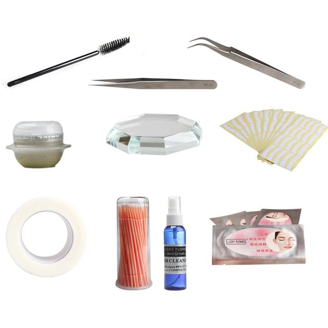 Profesional 10 unids/set maquillaje extensión falsas pestañas Kit de pestañas removedor del pegamento pestañas limpiador cojín del ojo de múltiples funciones herramienta