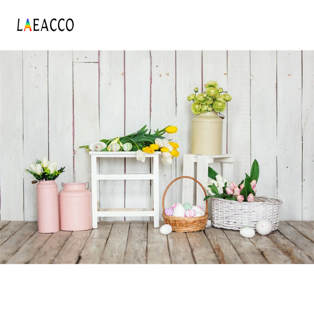 Laeacco Spring Flowers Easter Eggs Wooden Planks Baby Photography Backgrounds Customized Photographic Backdrops For Photo Studio