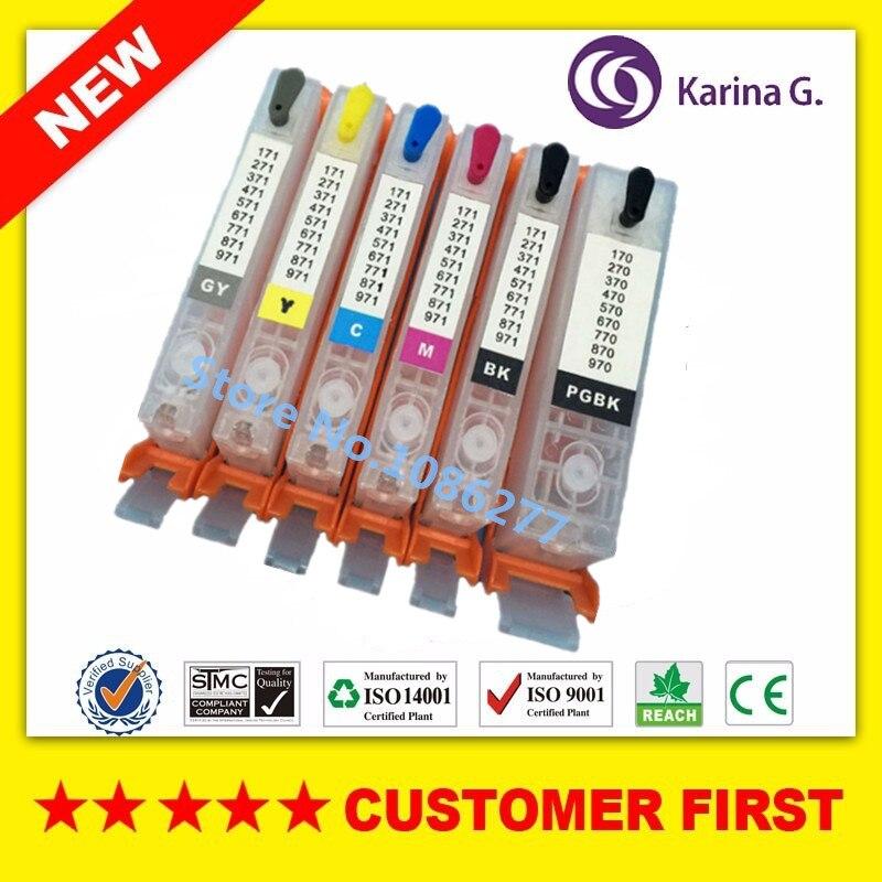 6PCS for PGI470 PGI-470 PGBK CLI-471 BK C M Y GY refillable ink cartridges For canon PIXMA MG7740 with auto reset chips pgi 425 cli 425 refillable ink cartridges for canon pgi425 pixma ip4840 mg5140 ip4940 ix6540 mg5240 mg5340 mx714 mx884 mx894