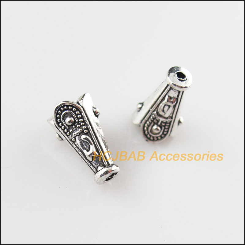 12Pcs Tibetan Silver Flower Charms European Bail Beads Fit Bracelet 10.5x19.5mm