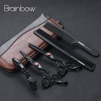 Brainbow 6.0 'Japan Hairdressing Scissors Professional Hair Cutting Thinning Scissors Set with Leather Case Hairdresser Haircut