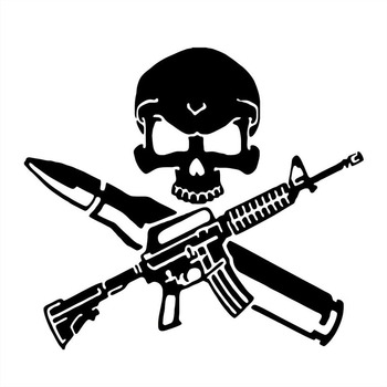 17.7*15.8CM Funny Rifle Bullet Gun Skull Car Stickers Covering The Body Of Fashion Vinyl Decals Black/Silver C7-0996 car