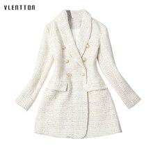 High Quality Runway 2019 Designer Office Womens Jacket Blazer Double Breasted Long Sleeve Tweed Coat Female Outwear
