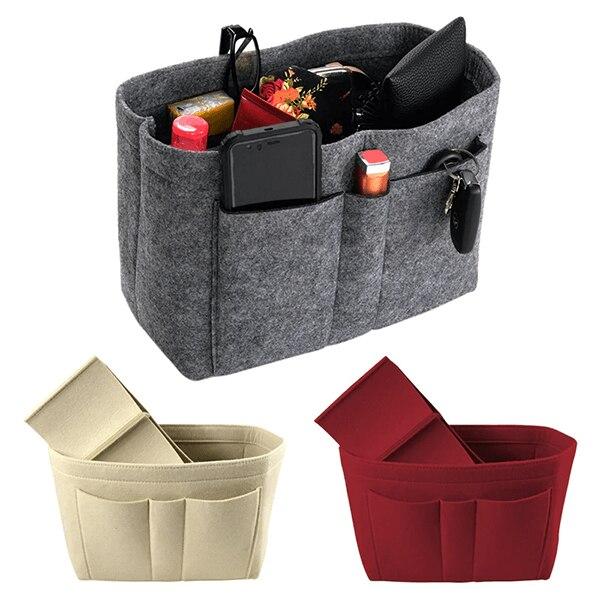 Makeup Bag Organizer Felt Fabric Purse Handbag Organizer Insert Bag Case Multi-function Cosmetic Bag Cosmetic Bags