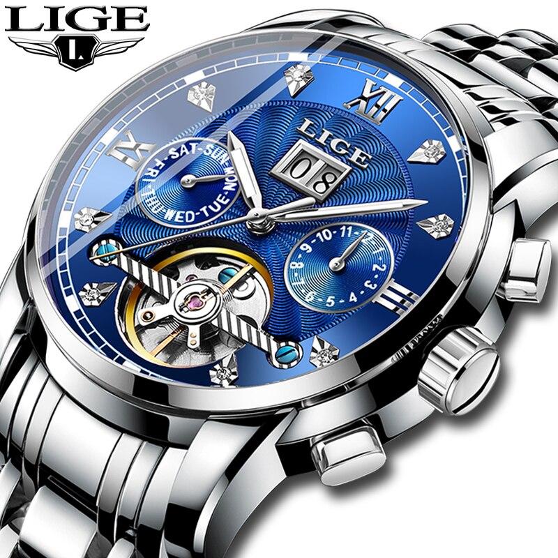 Relogio Masculino LIGE hommes montre mécanique Tourbillon marque de mode de luxe en acier inoxydable montres de sport hommes montre automatique