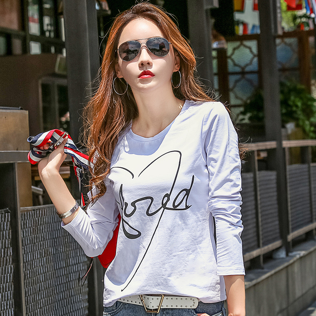 New 2018 T Shirt Women Long Sleeve Cotton T-shirts For Women Letter Print Female T-shirt Casual Winter Tops Tees Camisetas