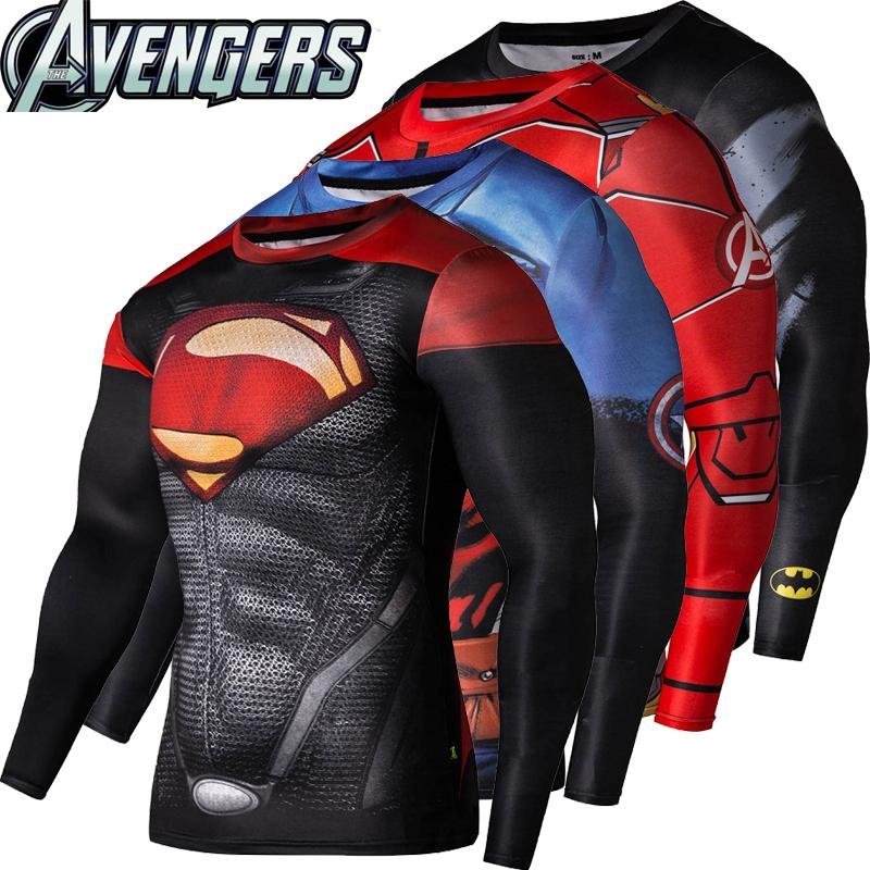 2016New de Fitness camiseta de compresión hombres Cosplay hombre Crossfit Plus tamaño culturismo hombres T camisa 3D de Superman impreso Top
