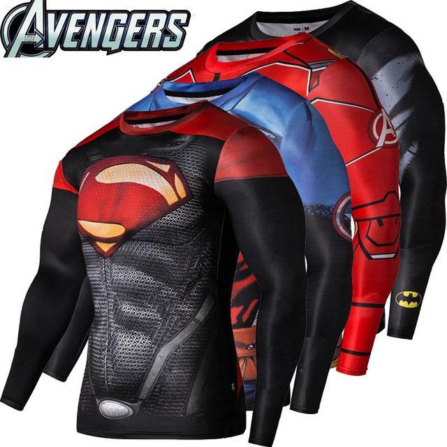 2016New модные Фитнес сжатия рубашка мужчин Косплэй мужской Кроссфит плюс Размеры Бодибилдинг Мужчины футболка 3D с принтом Супермен Топ