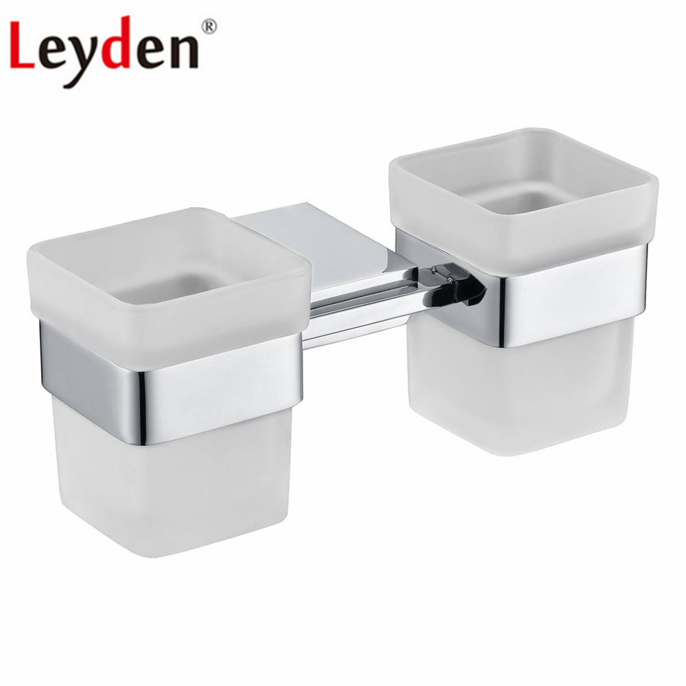 Leyden 304 Stainless Steel Chrome Bathroom Wall Mounted Double Toothbrush Holders With Two Glass Cups For Bathroom Accessories toothbrush holder wall mounted square base 304 stainless steel and copper toothbrush holders with glass cups polished chrome