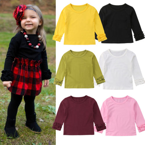 T-Shirt Long-Sleeve Toddler 4-Colour Blouse Tee-Tops Baby-Girl Kids Fashion Puff