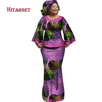 Hitarget 2019 New African Loose Kanga Dresses for Women Dashiki Traditional Cotton Top Skirt Set of 3 pieces Clothing WY2372