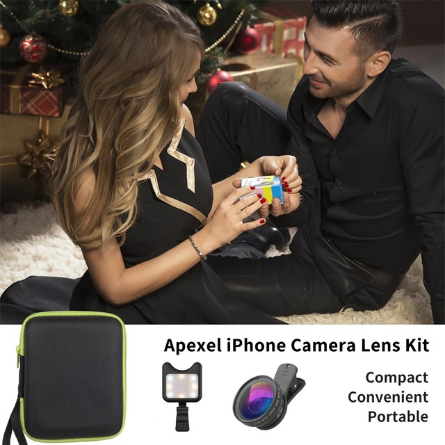 APEXEL Phone Camera Lens kit 0.45x Wide Angle Macro Lens+ rechargeable Led selfie Fill light for Samsung Xiaomi more cellphones 4
