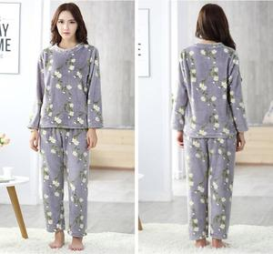 Image 4 - Womens Pajamas Autumn and Winter Pajamas set Women Long Sleeve Sleepwear Flannel Warm Lovely Top + Pants Pajamas Female Pyjama