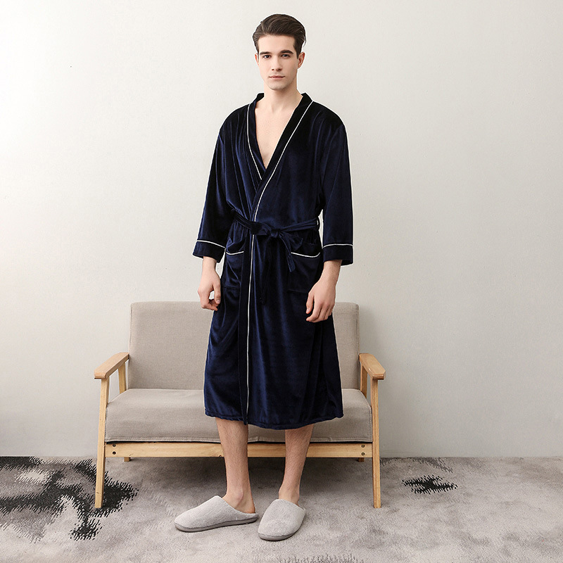 2019 Winter Warm Men Home Clothes Velvet Soft Bathrobe Long Kimono Robe Dressing Gown Solid Sleepwear Male Long Sleeve Nightgown