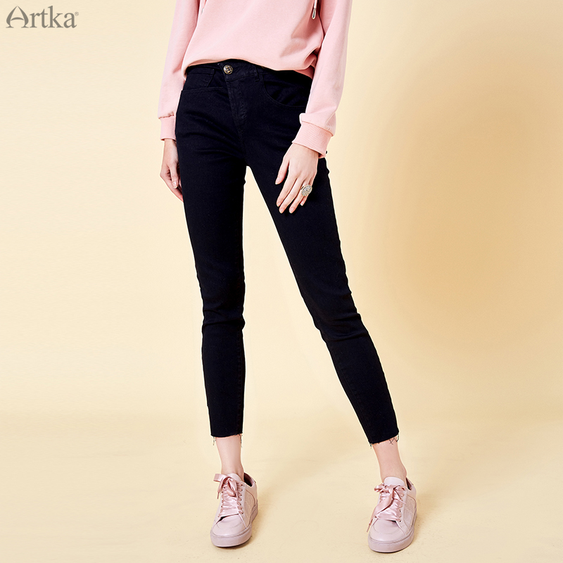 ARTKA 2019 Spring New Women Black Jeans High Quality Casual Straight Pants Fashion Slim Waist Lady