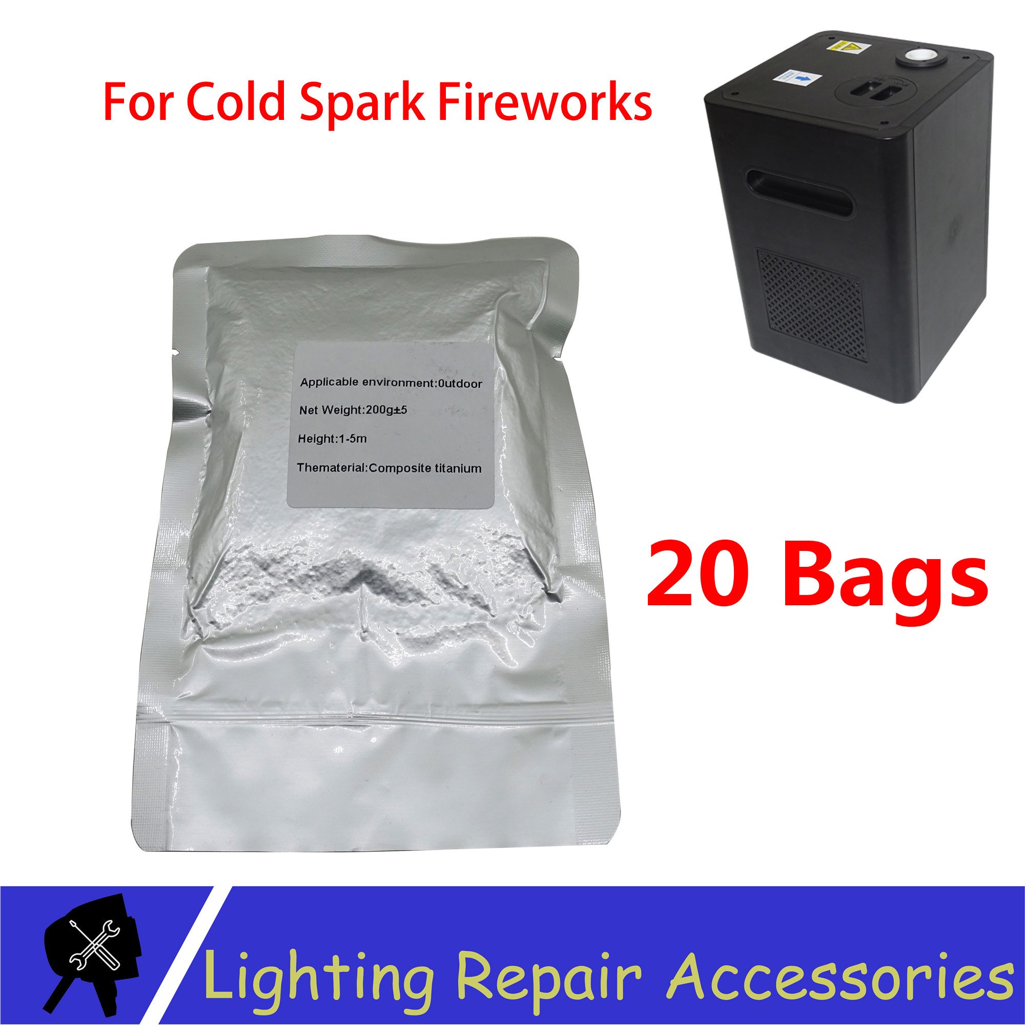20 Bags/lots TI Powder 200g/bag Outdoor Cold Spark Sparkler Metal Titanium For Cold Flame Stage Effect Firework Machine Powder