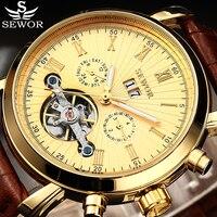 SEWOR Oro Tourbillion Negro Dial Moda Casual Diseño Auto Fecha Reloj de Los Hombres Top Brand Mecánico Automático Reloj Para Hombres