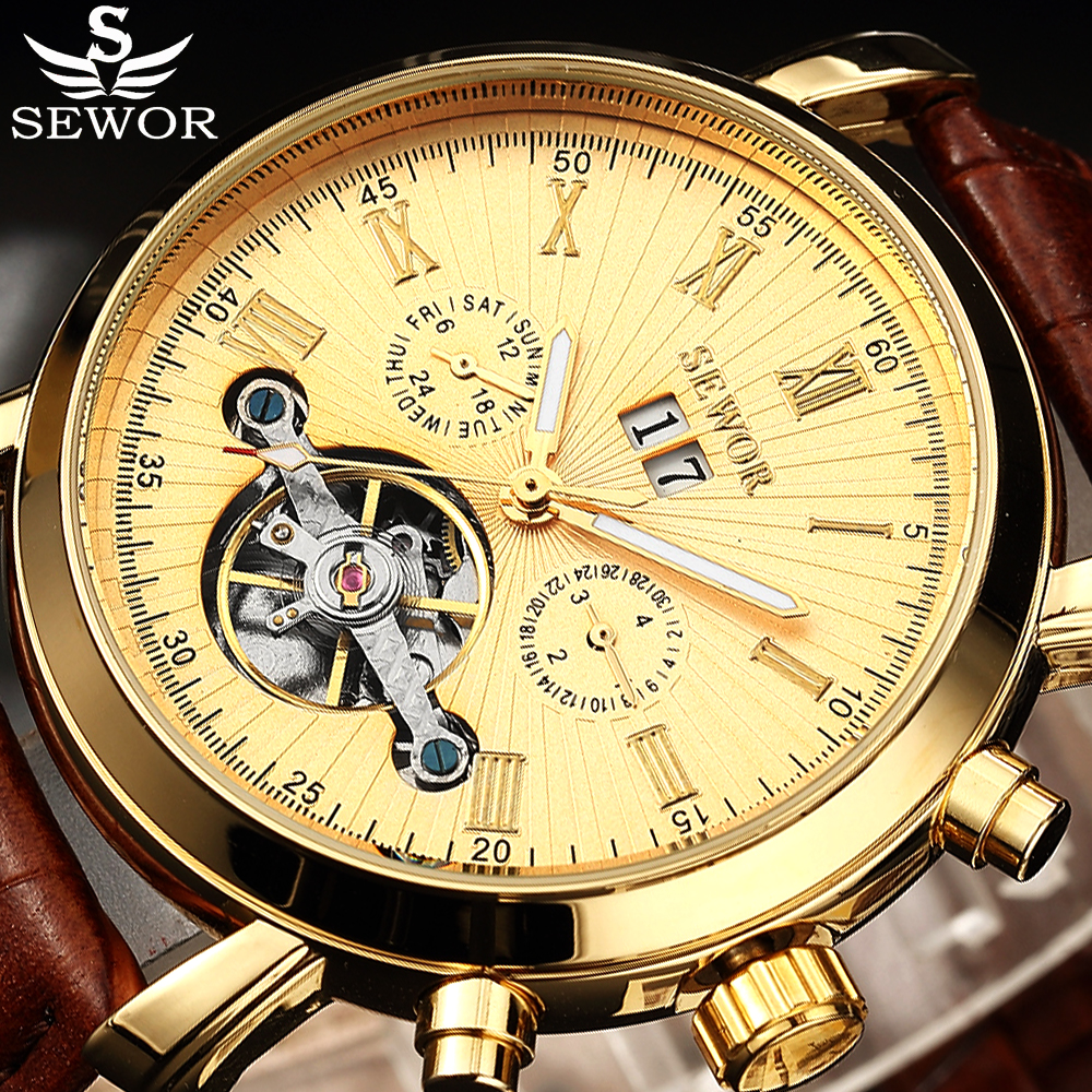 SEWOR Tourbillion Black Gold Dial Fashion Casual Design Auto Date Men Watch Top Brand Mechanical Automatic Watch For Men tevise fashion auto date automatic self wind watches stainless steel luxury gold black watch men mechanical t629a with tool