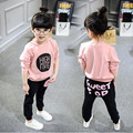 Brand 2017 Children Cotton Clothing Sets Boys Girls Warm Long Sleeve T-shirt+Pants Fashion Kids Clothes Sports Suit for Girls