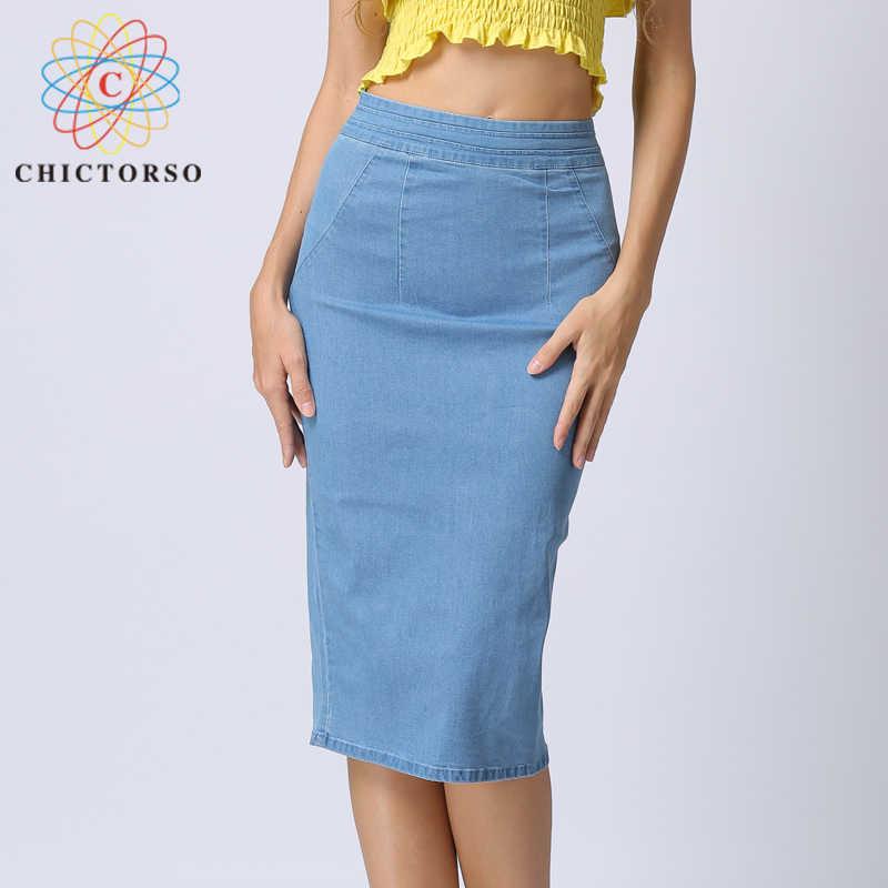 0aaee34019 Chictorso High Waist Denim Skirt Sexy Bodycon Midi Skirt Summer Pencil  Skirt Girls Jeans Skirts Women