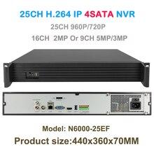 เครือข่ายบันทึกวิดีโอ25ch 960จุดหรือ16ch 2mpหรือ9ch 5MPกล้องIP CCTVNVRการรักษาความปลอดภัย4 SATAสนับสนุนOnvif/P2Pกับช่องต่อHDMI VGA