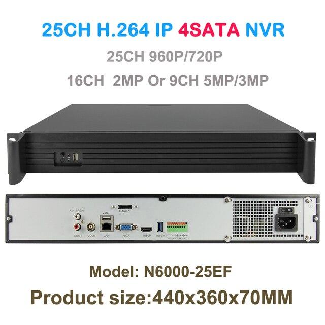 네트워크 비디오 레코더 25ch 960 p 또는 16ch 2mp 또는 9ch 5mp ip 카메라 cctvvnvr 보안 4 sata 지원 onvif/p2p hdmi vga 출력