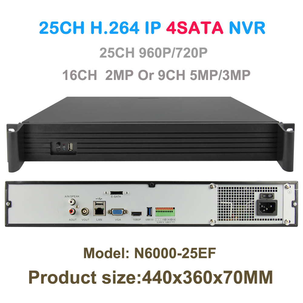 Network Video Recorder 25ch 960P or 16ch 2mp or 9ch 5MP IP Camera CCTVNVR Security 4SATA Support Onvif/P2P With HDMI VGA Output image