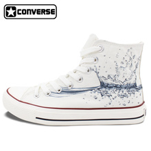 2016 High Top Converse All Star Water Drop Original Design Hand Painted White Canvas Sneakers Birthday Gifts