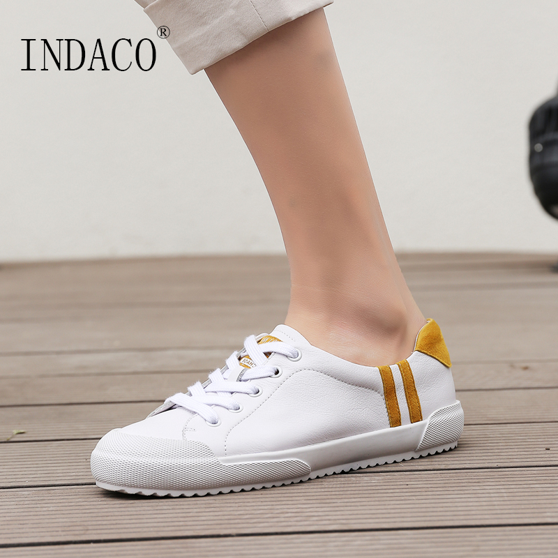 2019 Leather White Sneakers Women Flat Casual Sneakers Women Canvas Shoes 2.5cm Spring Summer Sapato Feminino