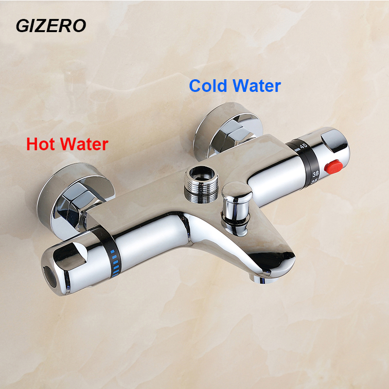 bathroom shower set thermostatic mixing valve copper brass bathtub faucet shower wall mounted thermostaat kraan douche ZR954