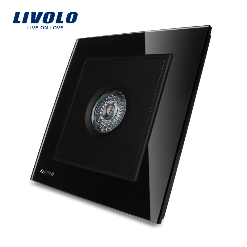 Manufacturer LIVOLO Knight Black Crystal Glass Panel Sound & light Control/Motion Sensor time-delay Switch 40S, VL-W291SG-11 manufacturer white crystal glass panel livolo new wall light sound control switch ac 110 250v 40s vl w291sg 12