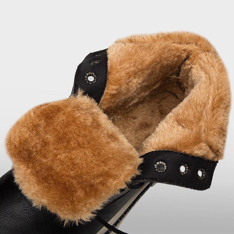 De Fourrure Chaud En D'hiver Étanche Bottes Homme Martin Haute Mode Peluche Noir marron Cuir Ronde Neige gris Britannique Hommes Chaussures top ikXuOPZ
