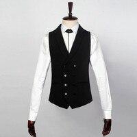 Pak ma3 jia3 Zwart mannen vest double breasted revers Bussiness suits vest Handgemaakte Maatwerk prom dress Vest Vest