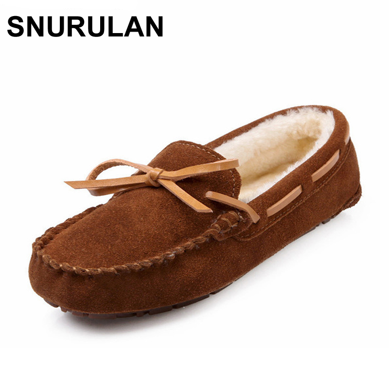 SNURULAN 2017 Winter Plush Boat Shoe Cow Leather Women Shoes Keep Warm Moccasins Shoes Woman Slip On Female Flats Fur Loafers timetang casual cow leather women shoes keep warm cotton shoes woman shallow female flats fur loafers plush winter mother c281