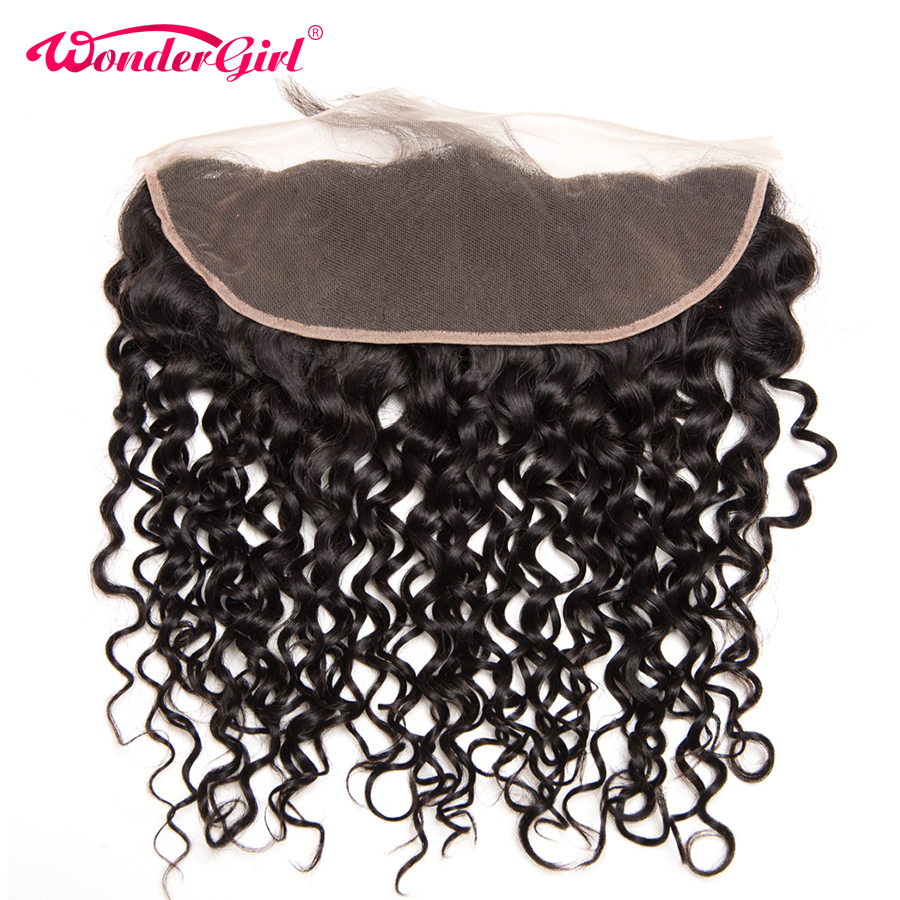 Wonder Girl Brazilian Water Wave Frontal 13x4 Ear to Ear Snörning Frontal Closure With Baby Hair 100% Human Hair Closure Remy Hair