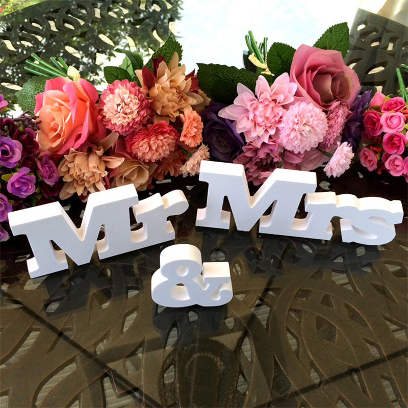 3 pcs/set Wedding decoration Mr & Mrs Romantic Mariage Decor White Letters Birthday Party Decorations for home decoracion boda