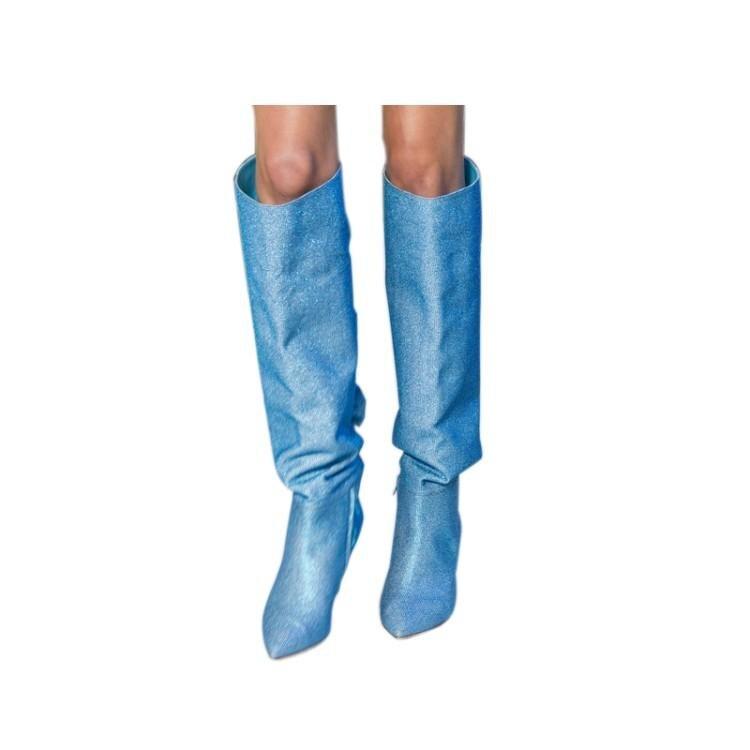 Шикарные зимние женские вечерние сапоги Бабочка узел на низком каблуке сапоги до колена синий розовый фиолетовый сексуальная Дамская обув