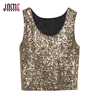 2016 New Sexy Bling Women Sequin Tank Top Slim O Neck Sleeveless Solid Color Sequins Crop