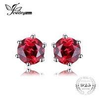 VVS Red Round Gemstone Jewelry Natural Garnet Earrings Stud Genuine 925 Sterling Silver Jewelry 2015 Brand