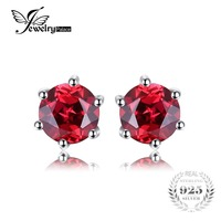 VVS Red Round Gemstone Jewelry Natural Garnet Earrings Stud Genuine 925 Sterling Silver Jewelry 2015 Brand