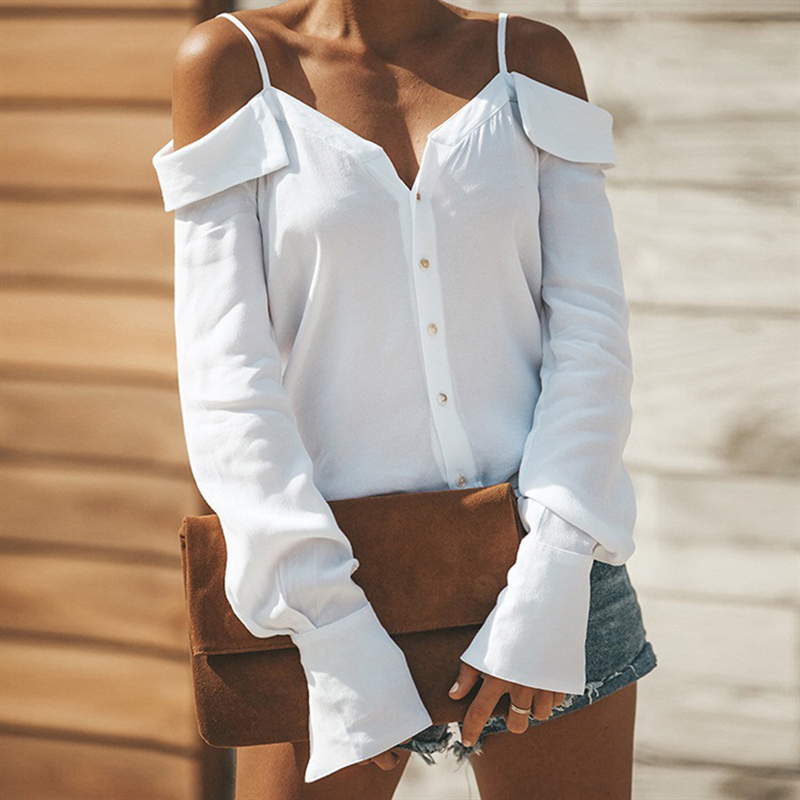 Fashion Woman   Blouses   2019 Button Feminine   Blouse     Shirt   Long Sleeve Womens Tops and   Blouses   Ladies Off Shoulder Top Women   Shirts