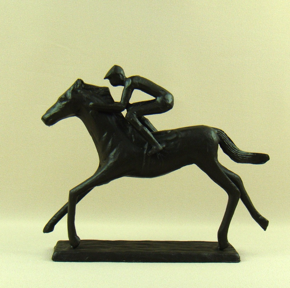 Horse arts and crafts - Pig Iron Jockey Model Abstractive Metal Horse Racing Statue Equestrian Competition Sport Souvenir Decor Art And