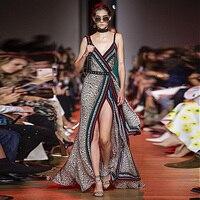 XF Leopard Print Milan Catwalk V Neck Sexy Sling + Belt Slim Fit Diagonal Beach Holiday Casual 2019 Summer New Long Dress